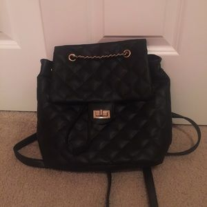 Black Quilted Chain Backpack